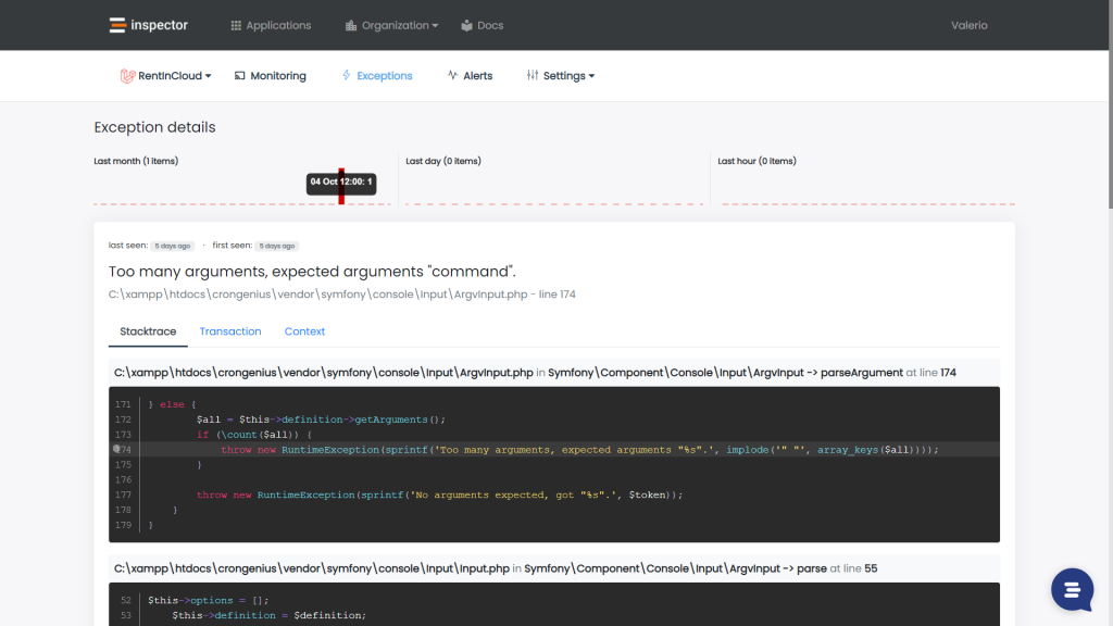 Laravel Exception reporting and monitoring